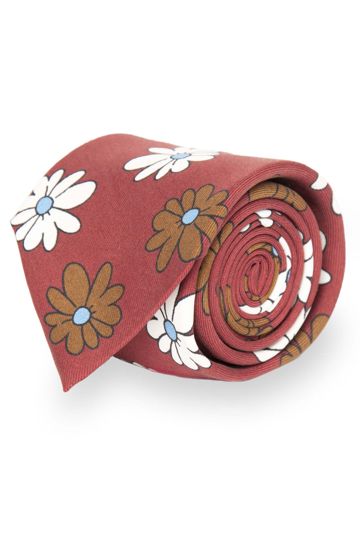 RED WHITE & BROWN PRINTED MACRO FLORAL VINTAGE SILK TIE - Fumagalli 1891