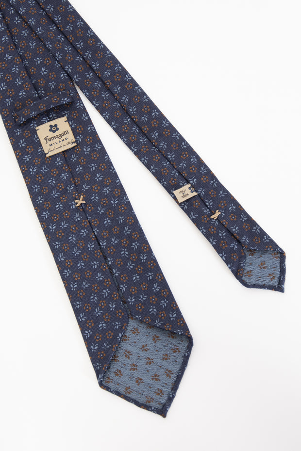 BLUE, LIGHT BLUE & BROWN FLORAL VINTAGE SILK UNLINED HAND MADE TIE - Fumagalli 1891