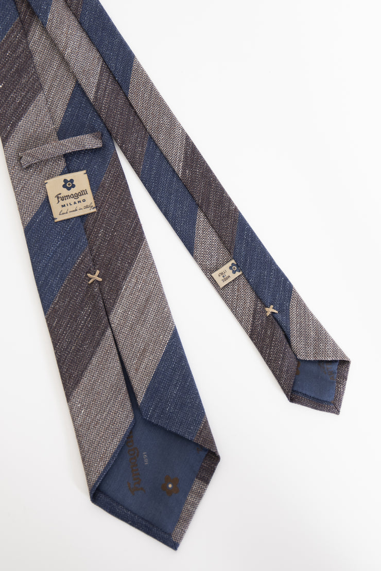 regimental silk tie made in italy with blue brown and beige stripe-cravatta in seta con disegno regimental a righe blu marroni e beige