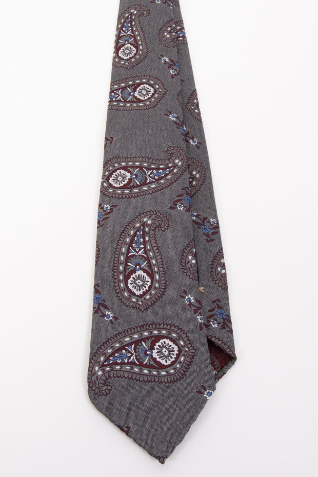 GRAY, RED & BLUE PAISLEY VINTAGE SILK UNLINED hand made TIE - Fumagalli 1891