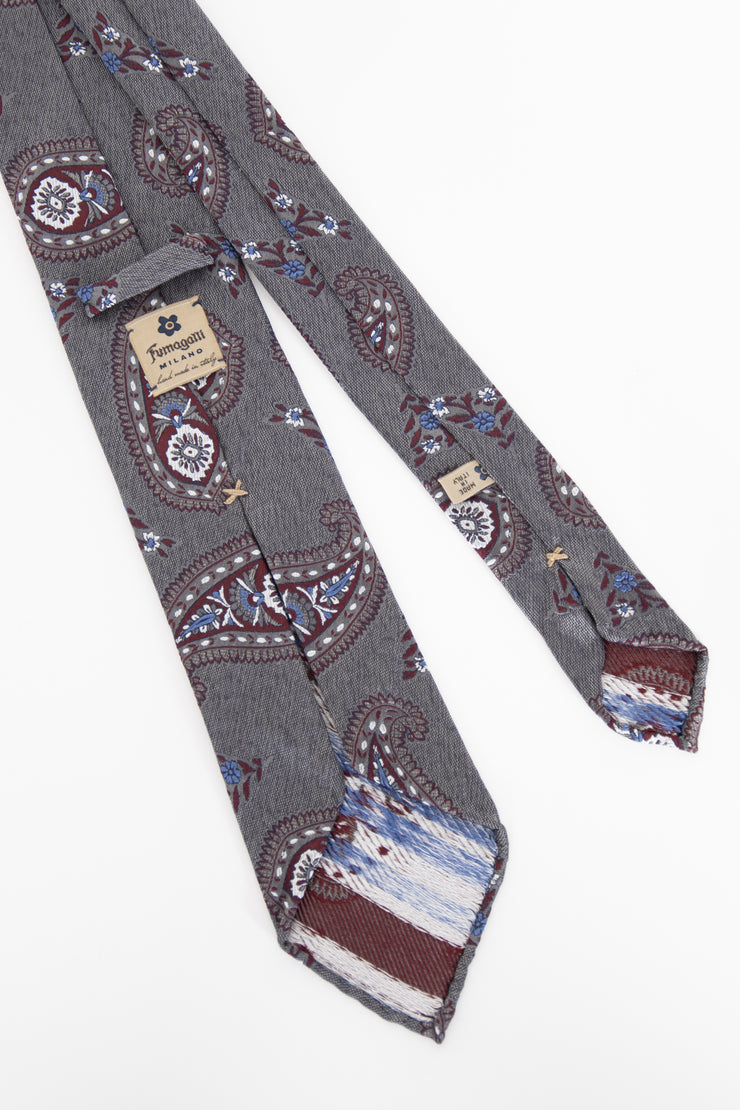 GRAY, RED & BLUE PAISLEY VINTAGE SILK UNLINED TIE - Fumagalli 1891