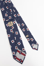 BLUE & WHITE E RED CLASSIC PATTERN VINTAGE SILK UNLINED TIE - Fumagalli 1891