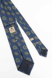 Blue & green printed pattern vintage made in Italy silk tie