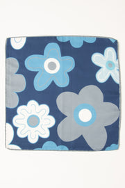 pocket square with big grey white and light blue flowers