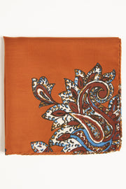 Orange Ultra Soft Silk & Cotton Floral Paisley Pocket Square-Fumagalli 1891