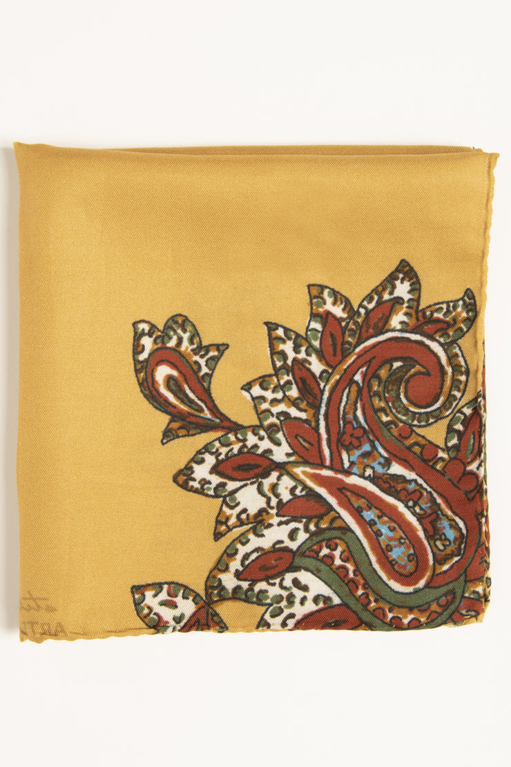 Golden Yellow Ultra Soft Silk & Cotton Floral Paisley Pocket Square-Fumagalli 1891