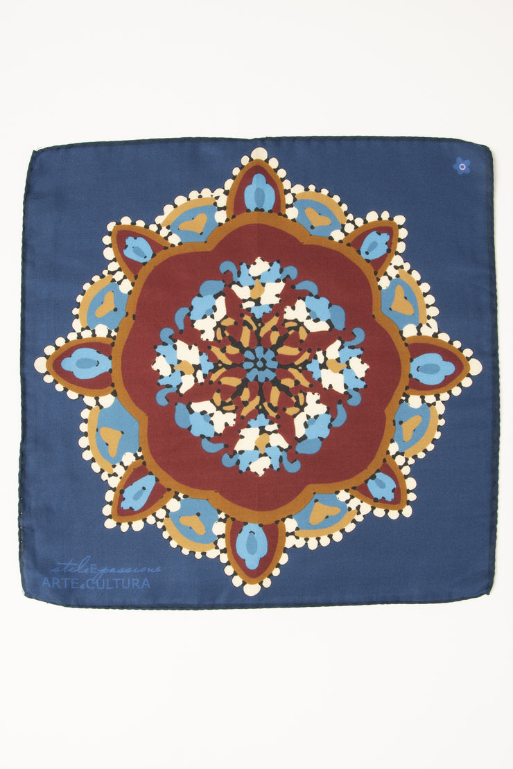 Blue Ultra Soft Silk & Cotton Mandala Pocket Square-Fumagalli 1891