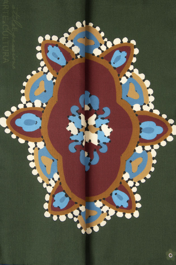 Dark Green Ultra Soft Silk & Cotton Mandala Pocket Square-Fumagalli 1891