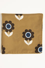 Golden Yellow Ultra Soft Silk & Cotton Flower Pocket Square-Fumagalli 1891