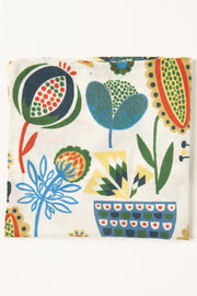 White Ultra Soft Silk & Cotton Plants Pocket Square-Fumagalli 1891