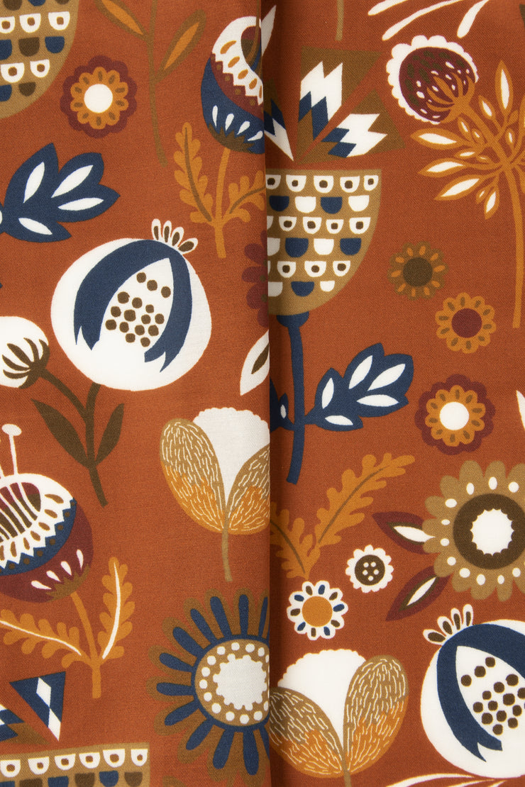 Orange Ultra Soft Silk & Cotton Plants Pocket Square-Fumagalli 1891