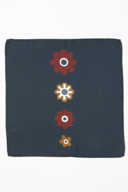 Dark Blue Ultra Soft Silk & Cotton Small Logo Pocket Square-Fumagalli 1891
