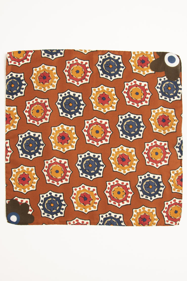 Orange Ultra Soft Silk & Cotton Medallion Pocket Square-Fumagalli 1891