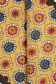 Yellow Ultra Soft Silk & Cotton Medallion Pocket Square-Fumagalli 1891