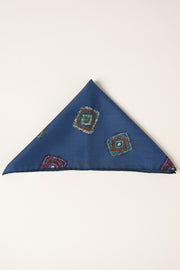 Blue Ultra Soft Silk & Cotton Diamonds Pocket Square-Fumagalli 1891