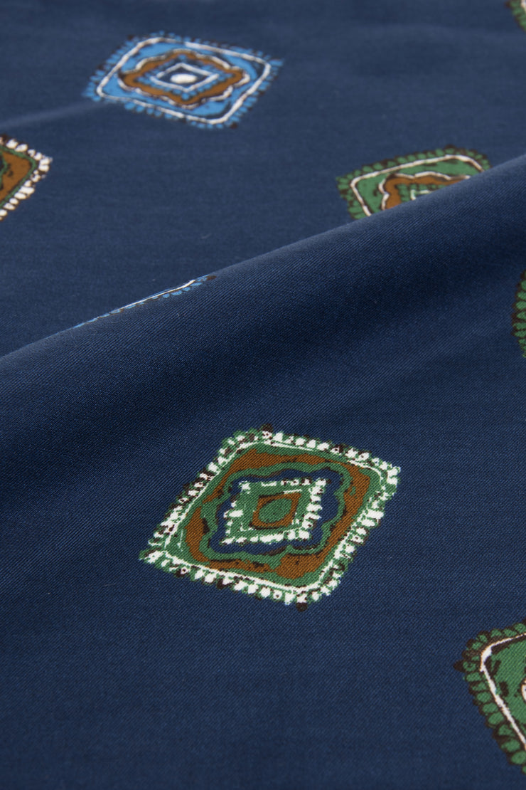 Dark Blue Ultra Soft Silk & Cotton Diamonds Pocket Square-Fumagalli 1891