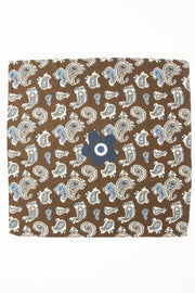 Brown Ultra Soft Silk & Cotton Paisley Bandana Foulard-Fumagalli 1891