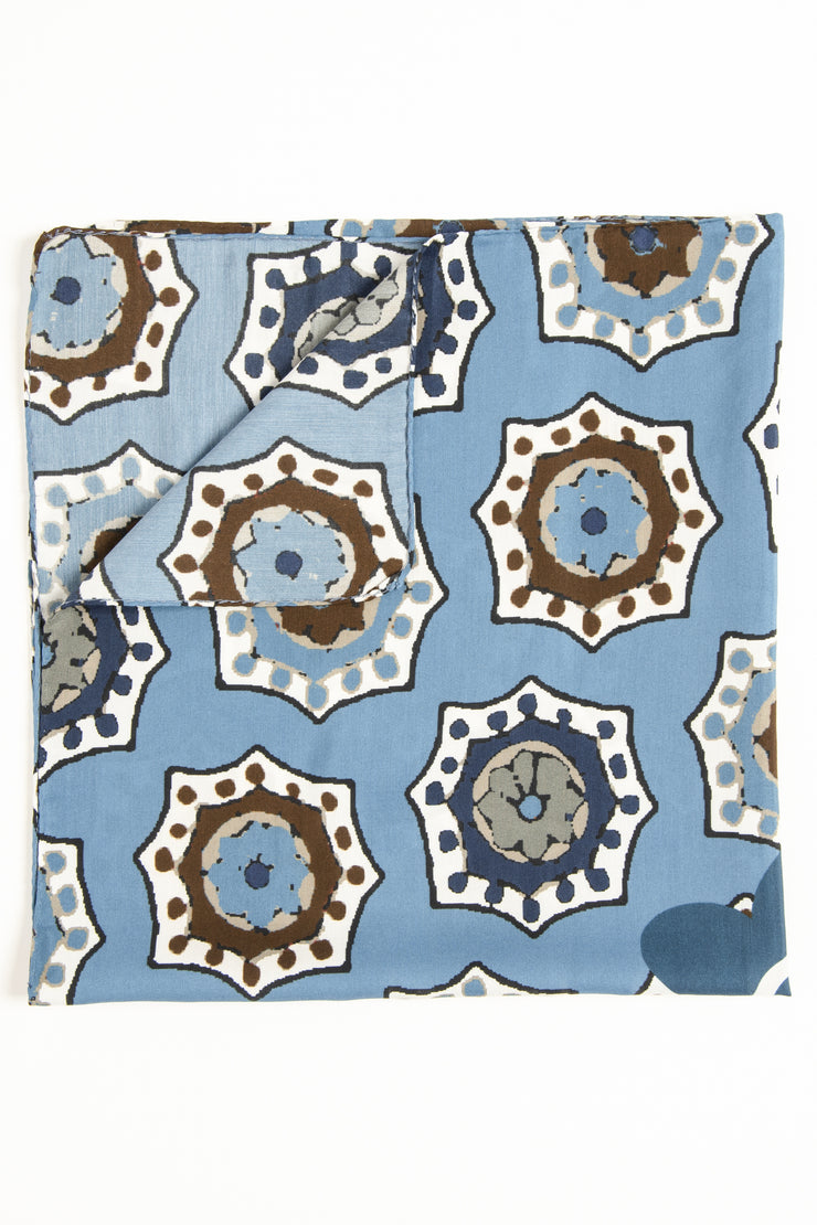 the medallions details brown and blue of bandana foulard made in italy