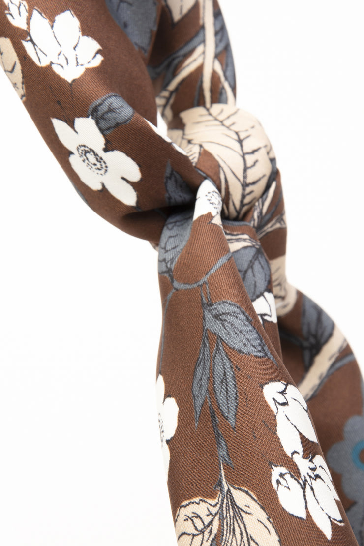 Brown Ultra Soft Silk & Cotton Foliage Bandana Foulard-Fumagalli 1891