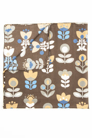 Brown Ultra Soft Silk & Cotton Tulip Bandana Foulard-Fumagalli 1891