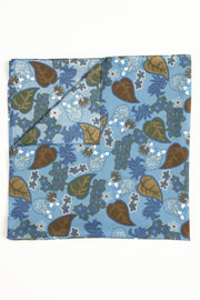 Light Blue Ultra Soft Silk & Cotton Leaves Bandana Foulard-Fumagalli 1891