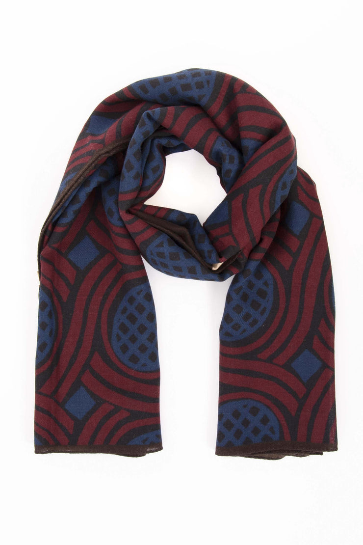 Dark Red Pure Italian Wool Geometrical Scarf