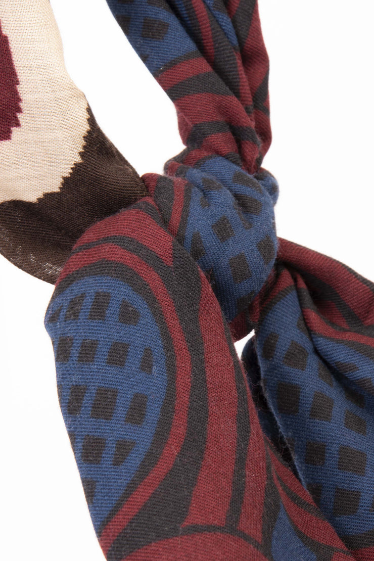 Dark Red Pure Italian Wool Geometrical Scarf-Fumagalli 1891