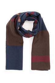 blue, brown and burgundy pure wool italian luxury scarf