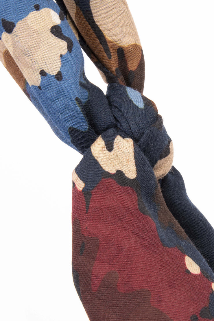 the colorfull details of the scarf with red,light blue and brown flowers