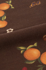 tangerines details on this handmade in italy brown scarf