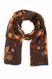 Brown Pure Italian Wool Tangerine Scarf