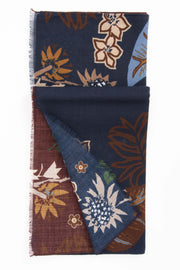 Red & Blue  Pure Italian Wool Plants Scarf-Fumagalli 1891
