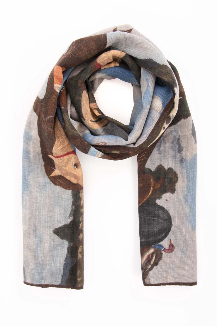 Cyan Pure Italian Wool Countryside Scarf