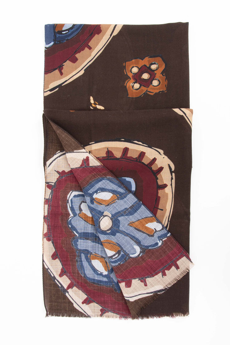 Brown Pure Italian Wool Medallion Scarf-Fumagalli 1891