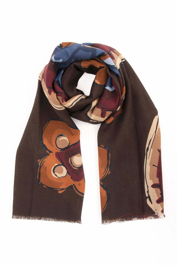 Brown Pure Italian Wool Medallion Scarf