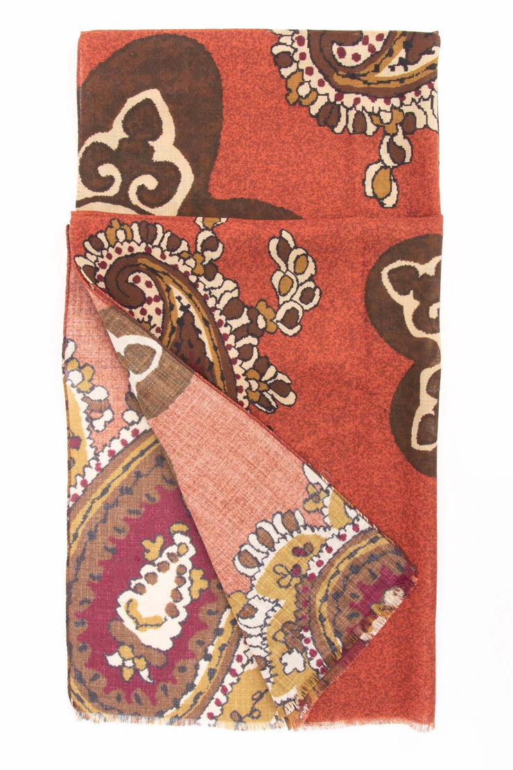 brown paisley design printed on a red made in italy scarf