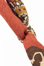 brick red scarf  with paisley pattern made of wool