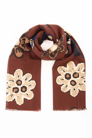 Burgundy Pure Italian Wool Flower Scarf
