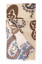 light brown scarf with some paisley design on it
