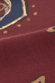 Burgundy Pure Italian Wool Flower & Medallion Scarf-Fumagalli 1891