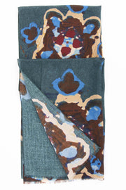 green light blue brown wool scarf with abstract design