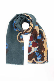 Dark green Pure Italian Wool Abstract Scarf