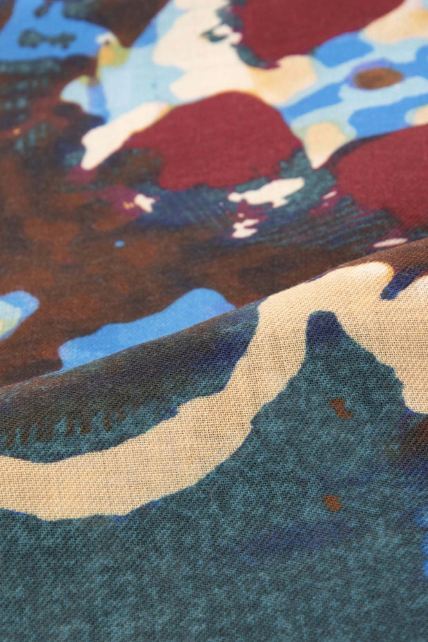 abstract green red light brown brown and light blue made in italy scarf detail