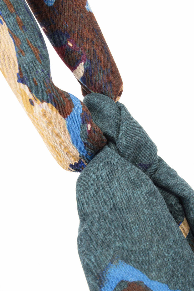 wool texture on this green brown light blue archives scarf