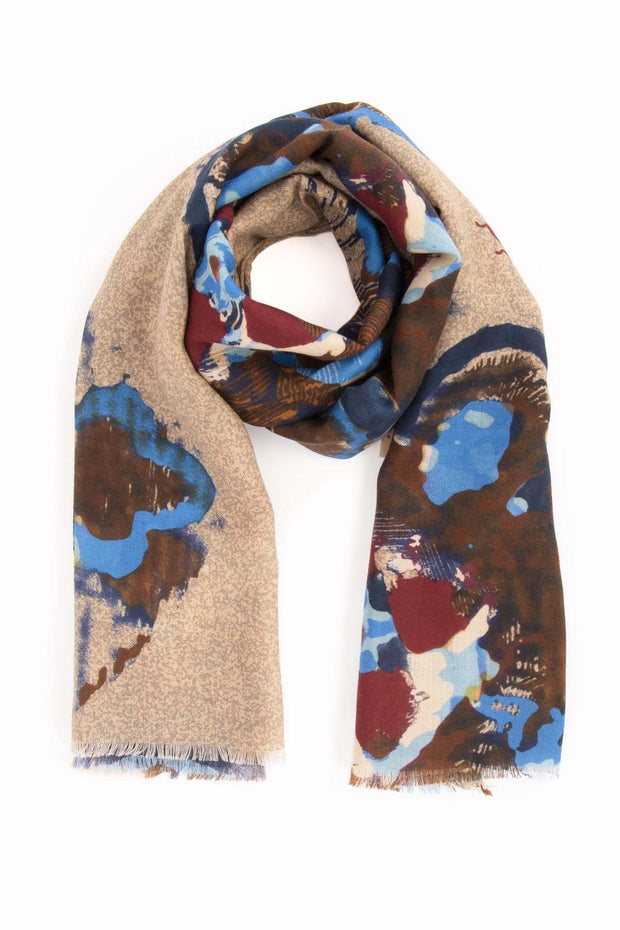 Sand Brown Pure Italian Wool Abstract Scarf-