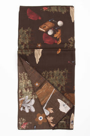Brown Pure Italian Wool & Ultra Soft Silk Golf Scarf -Fumagalli 1891