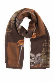 Brown Pure Italian Wool & Ultra Soft Silk Golf Scarf