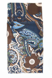 all the pattern of the scarf with brown and blue and made in italy details