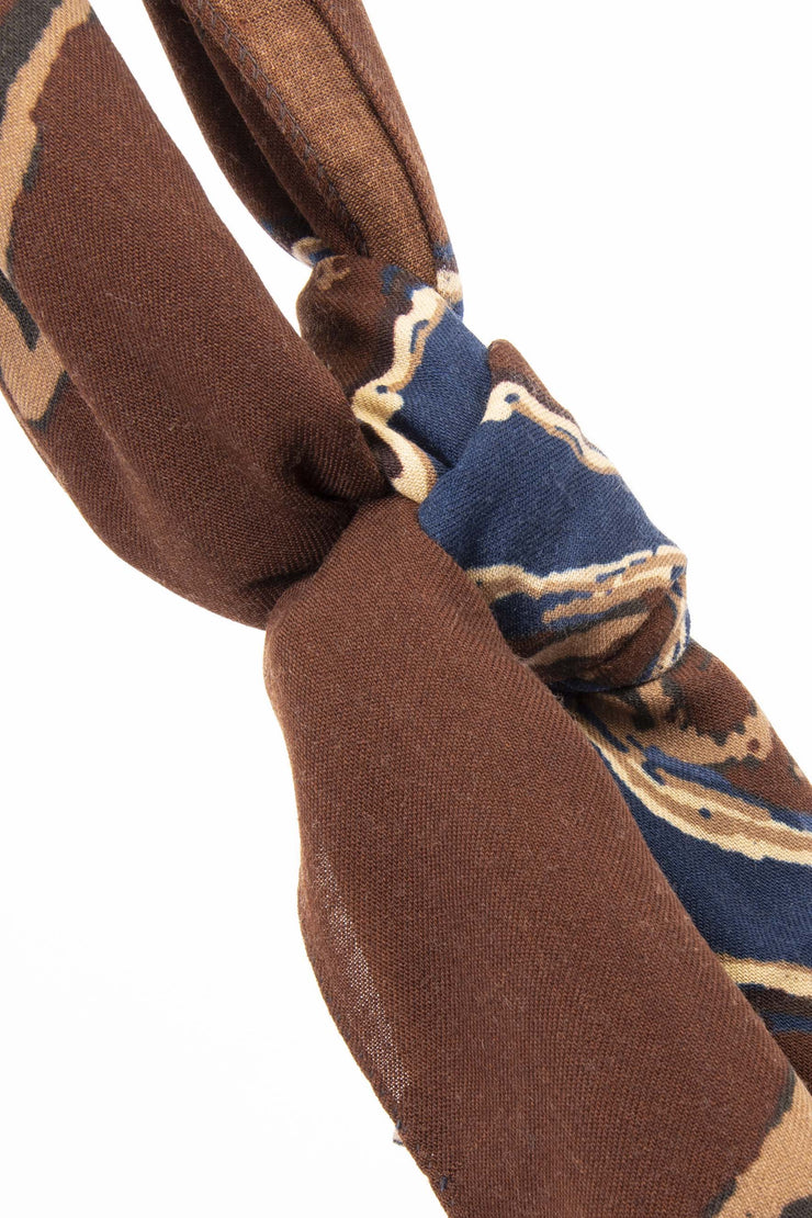 brown wool scarf with blue and light brown details