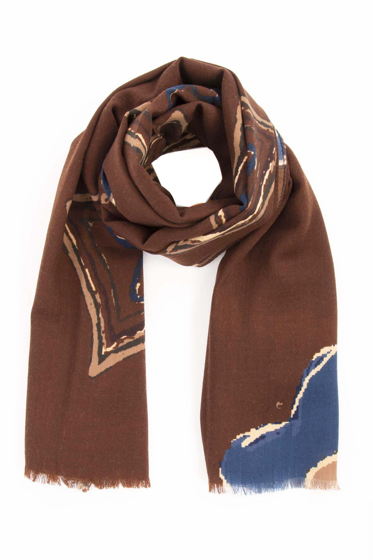 Brown Pure Italian Wool Flower & Medallion Scarf-Fumagalli 1891